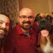 Luke with his new family, Chris & Dan