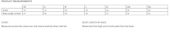 NCBR California Unisex Tank Size Chart